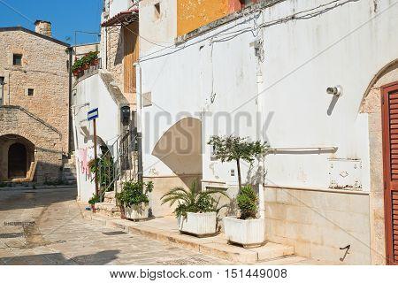 Image of an alleyway of Sammichele di Bari. Puglia. Italy.