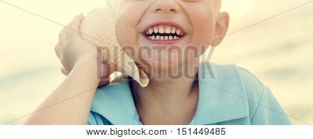 Boy Adolescence Beach Enjoyment Happiness Concept