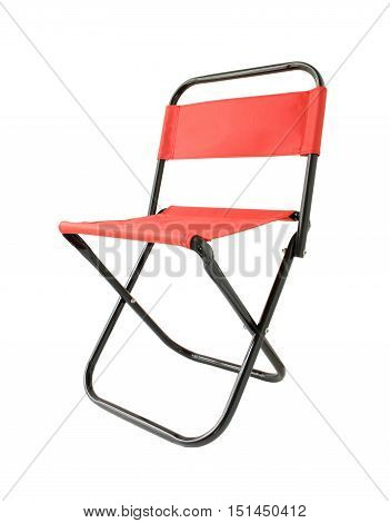 Small Red Folding Chair isolated on white background