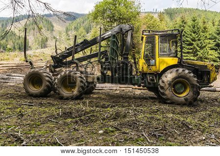 Forwarder - Vehicle For The Transport Of Timber From The Forest.