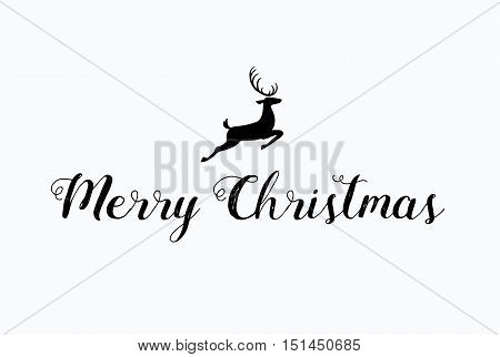 Merry Christmas lettering typography. Handwriting text design with winter holidays calligraphy. Deer, minimal greeting card decoration on black background. Abstract vintage vector template.