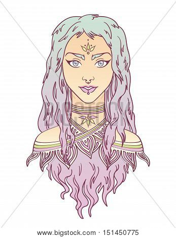 Beauty. Stylish beautiful girl with curly gradient hair. Beautiful tribal girl colorful portrait in hand draw style. Vector illustration of young girl with curly gradient hair. Tribal fashion girl.