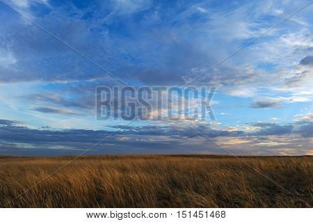 poster of Autumn sunset on the meadow. Clouds and grass beautiful landscape.