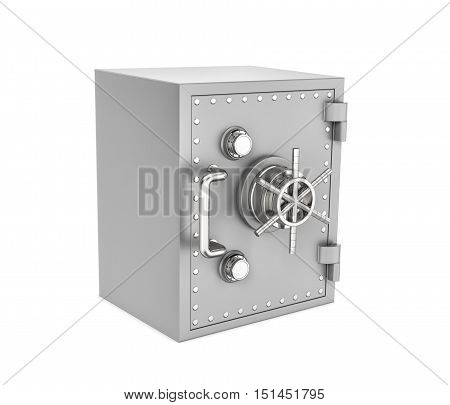 3d rendering of a steel safe box isolated on a white background. Security storage. Bulletproof and fireproof. Keeping money.