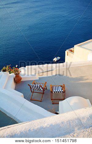 Santorini Island Greece. Oia Town Lounge and Sea view