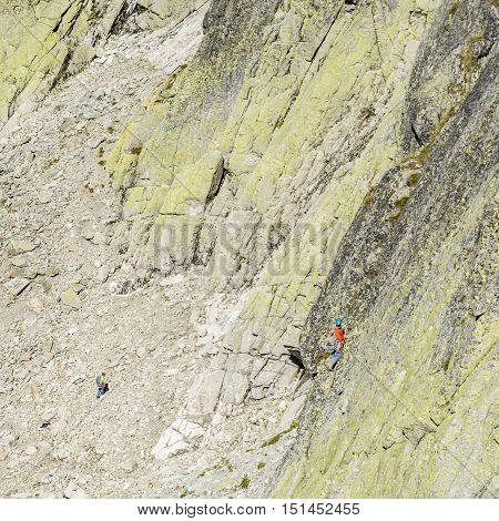 Mountain-climber Leads Pitch The Wall Zamarla Turnia.