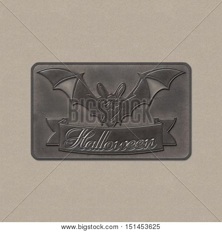 Bats with red eyes. 3D illustration of bat and a ribbon with Halloween text. Realistic metal plate badge from iron. Halloween banner with place for your text or pictures. Halloween Poster