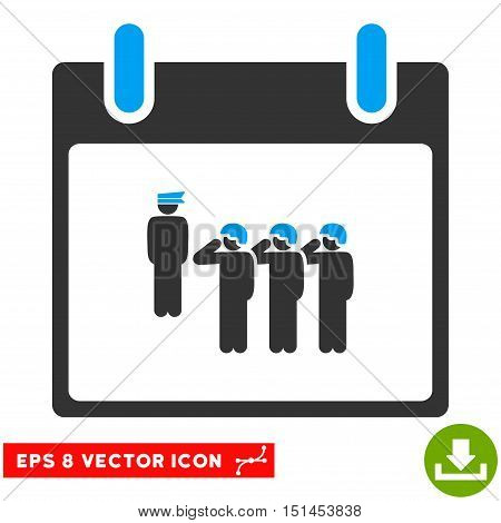 Army Squad Calendar Day icon. Vector EPS illustration style is flat iconic bicolor symbol, blue and gray colors.