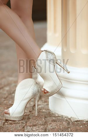 Sexy Legs In High Heels With Diamond Strass, Summer Close Up