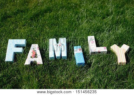Beautiful wedding inscription 'family' on the nature. Close-up beauty of colored placard. Bridal accessories. Female and male decoration for couple. Details for marriage