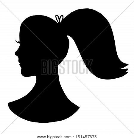 Black girl's silhouette with ponytail and lashes isolated on white background. Hand drawn graphics illustration for logo, designs, prints, advertising, barbershop.