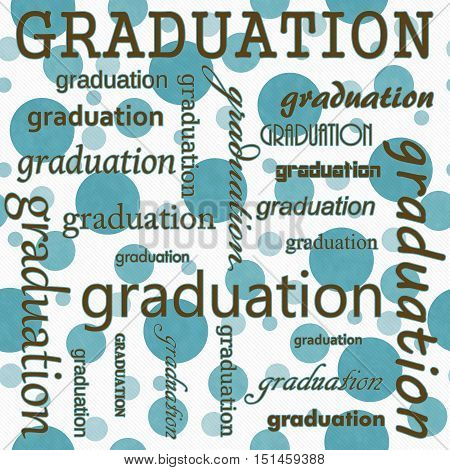 Graduation Design with Teal and White Polka Dot Tile Pattern Repeat Background that is seamless and repeats