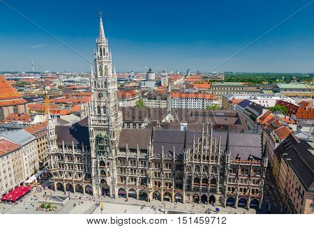 The New Town Hall is a town hall at the northern part of Marienplatz in Munich Bavaria Germany