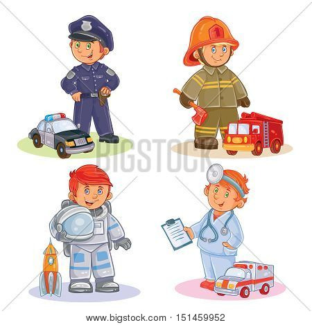 Set of vector icons of small children police, firefighter, astronaut, doctor with their vehicles
