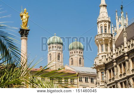 Closeup of the towers of Frauenkirche church in Munich Germany.