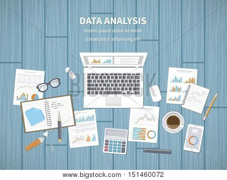Data analysis concept. Financial Audit, SEO analytics, statistics, strategic, report, management. Charts, graphics on a screen and documents, notebook, tablet, calculator, flash card. Vector top view