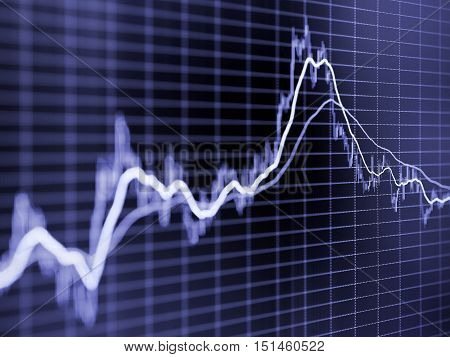 Stock market graph. Toned blurred image with diminishing perspective and selective focus
