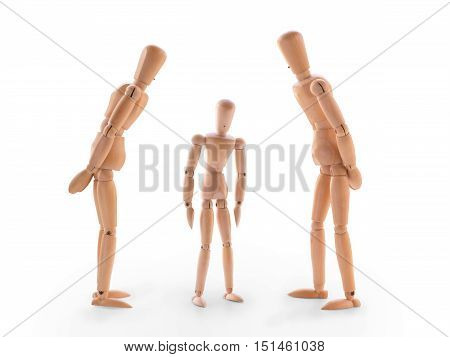 Scene with three wooden dummies. Concept of parents scolded his children or children fault. Isolated on white