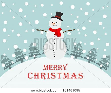 Snowman on snowy landscape in christmas night. Christmas snowman. Vector illustration.