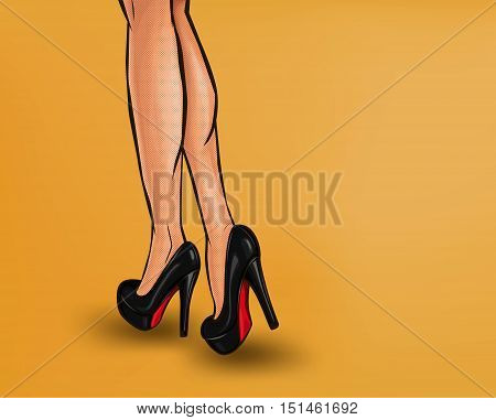 Vector pop art illustration of female legs, shod in high-heeled shoes