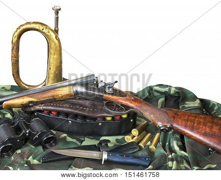 Hunting rifle ammunition knife hunting horn and other hunting ammunition isolated on white background