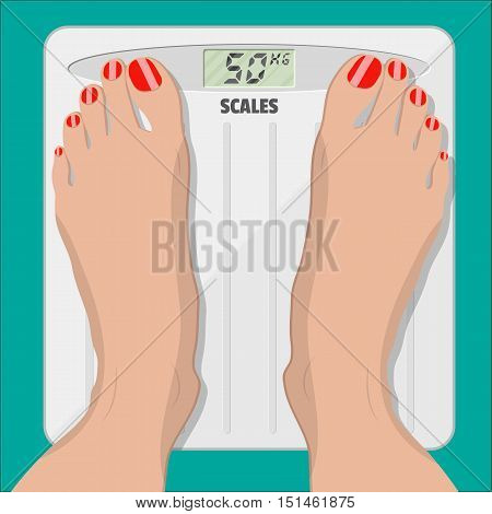 woman weighed on floor scales, electronic scales and female feet with red pedicure. vector illustration in flat style