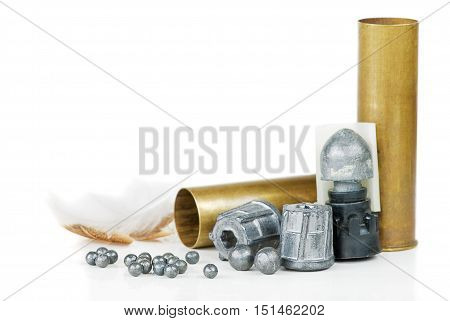 various hunting equipment on a white background
