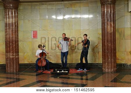 Moscow, Russia - June 03.2016. Street musicians play music in the metro