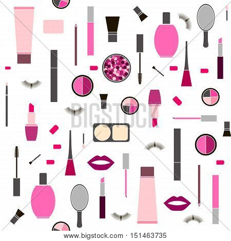 seamless colorful pattern background with Makeup products in vector