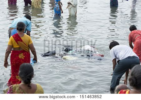 Rameswaram, Tamil Nadu, India - May 25, 2014. Full report about Rameswaram pilgrimage, religion. Religious city rituals. Bath in sea before going temple
