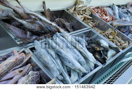 frozen fish in ice in a big supermarket