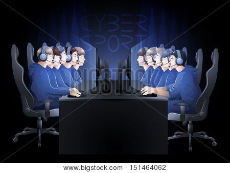 Two teams of five players sitting at the table opposite each other. Side view. Vector participants of cyber sport tournament