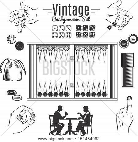 Backgammon vintage style elements set with chips and dice in male hands game board isolated vector illustration
