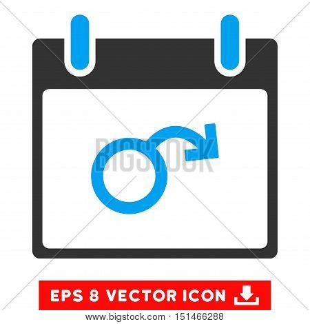 Impotence Calendar Day icon. Vector EPS illustration style is flat iconic bicolor symbol, blue and gray colors.