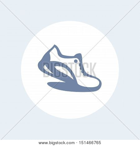 Running icon isolated on white, logo element with running shoe, vector illustration