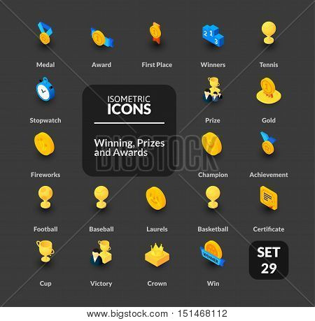 Color icons set in flat isometric illustration style, vector symbols - Winning, Prizes and awards collection