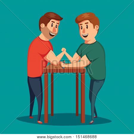 Arm Wrestling. Battle fighters. Cartoon vector illustration. Muscular people. Strong men. Challenge of friends poster