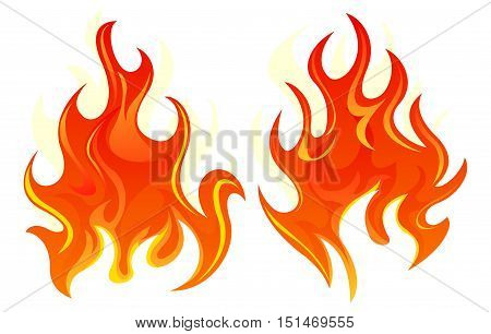 Two simple fire icon on white background