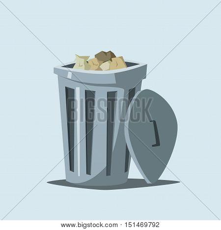 Trashcan. Cartoon vector illustration. Trash in city. Steel container
