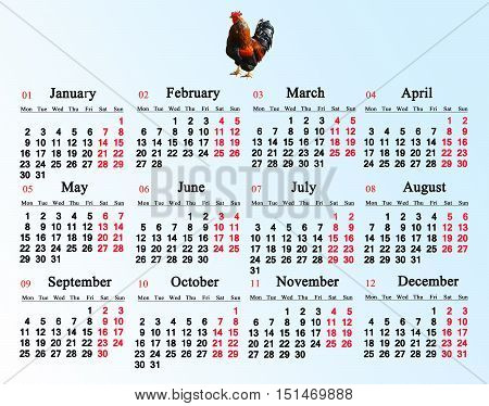 office calendar for 2017 with image of cock on the multicolor background. Rooster is the symbol of next year