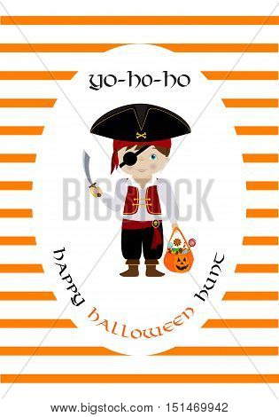 Happy halloween vector card with cute cartoon pirate