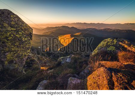 Mountain Landscape at Sunset. View from Mount Dumbier in Low Tatras Slovakia. West Tatras Mountains in Background.