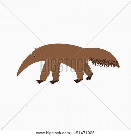 Cartoon Vector Illustration of Tamandua Anteater Animal Character