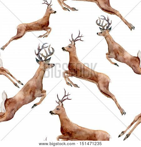 Watercolor running deers seamless pattern. Christmas wild animal illustration isolated on white background for design, print or background.