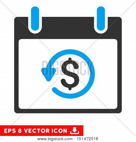 Refund Calendar Day icon. Vector EPS illustration style is flat iconic bicolor symbol, blue and gray colors.