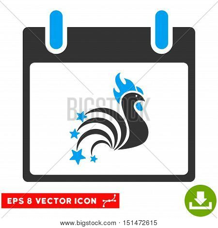 Rooster Fireworks Calendar Day icon. Vector EPS illustration style is flat iconic bicolor symbol, blue and gray colors.