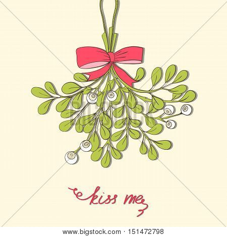 Hand drawn mistletoe. Vector Christmas plant  background.