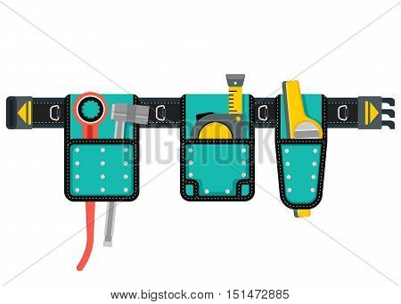 Belt with tools. Conceptual image of tools for repair, construction and builder. Concept image of work wear. Cartoon flat vector illustration. Objects isolated on white background.