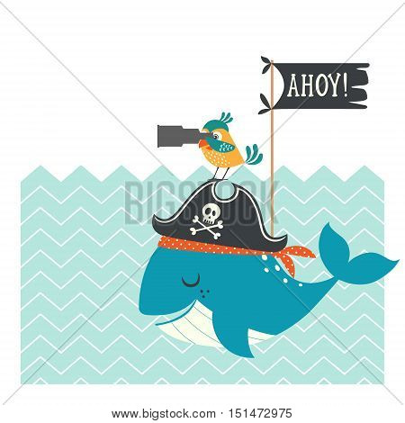 Funny pirate card with cartoon whale and parrot.