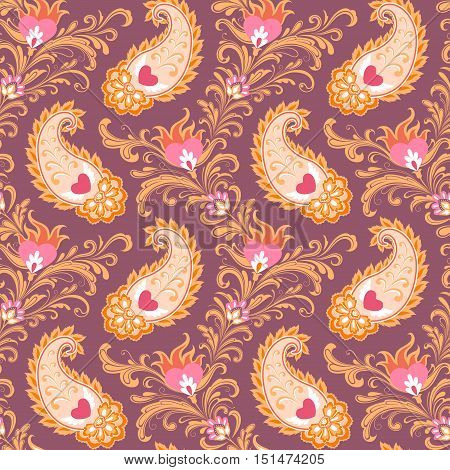 Seamless stylized eastern pattern with hearts and paisley.